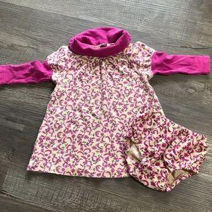 Tea long sleeve dress with bloomers set